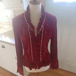 ALBERTO MAKALI Crushed Velvet Beaded Blouse Top M